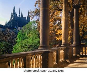 View to St. Vitus church at Prague castle from summerhouse of Queen Ann - Czech republic