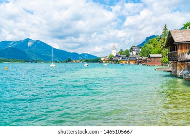 View of St. Wolfgang market town on Lake St. Wolfgang in the Salzkammergut resort region, Austria. It's named after Saint Wolfgang of Regensburg.