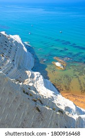 View of the Stair of the Turks (Scala dei Turchi). The unique landscape of the white cliffs in Sicily.