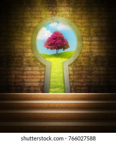 View from staircase to green nature through the keyhole. Concept for Success