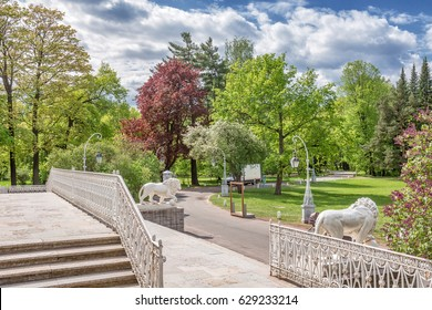 View of the stairs and the spring park on Elagin Island, St. Petersburg, Russia