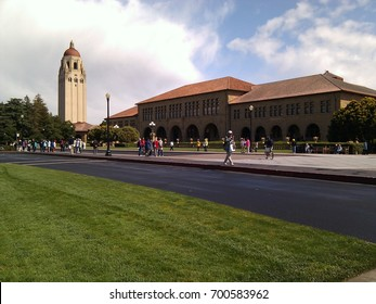 View of Stanford University campus from Palm Drive