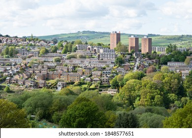 A view of Stannington, Sheffield showing a variety of types of housing including high-rise flats, terraces and new builds