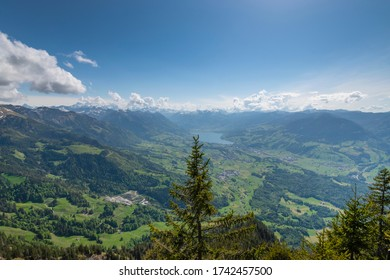 View from Stanserhorn on Sarnen, on the way to Stanserhorn peak. Kanton Obwalden in Switzerland, Aecherlipass.