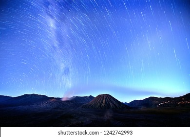 View of a star trails on the night sky
