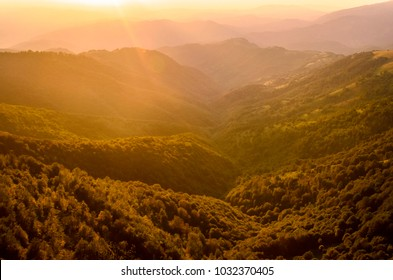 View at Stara planina mountain in Serbia at sunset