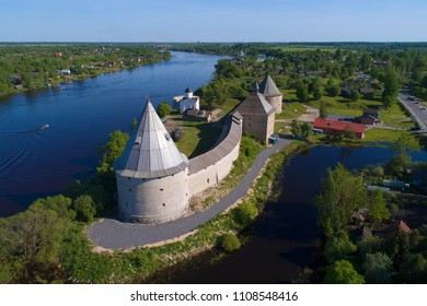 View of the Staraya Ladoga fortress on a sunny May day (aerial photography). Staraya Ladoga, Russia