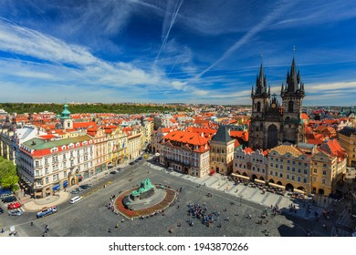 View of Stare Mesto Square Old City Square and Tyn Church Tynsky Chram from Town Hall - Shutterstock ID 1943870266