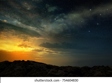 view of starry night sky at dawn