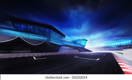 view of the start finish line on the race track, racing sport digital background illustration