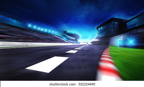 view of the start finish line and paddock on the racetrack, racing sport digital background illustration