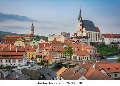View of State Castle and Chateau, kostel svatého Víta and Český Krumlov city in daytime