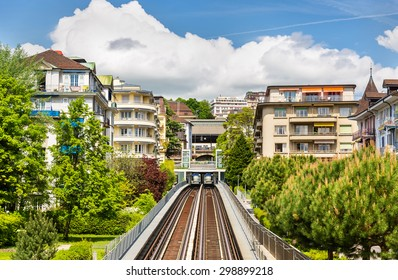 View of Station Jordils of Lausanne Metro - Switzerland