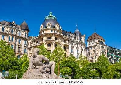 View of the statue Aurore in Lausanne - Switzerland