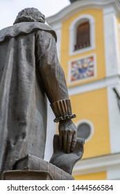 View of statue and Dekanatspfarrkirche in St. Johann in Tirol Austrian Tyrol, Austria, Europe 1-5-2019