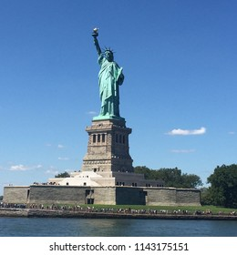 View of the Statue of Liberty in New York, USA. The Statue of Liberty is a colossal neoclassical sculpture on Liberty Island in New York Harbor in New York City. gift of friendship from the France.