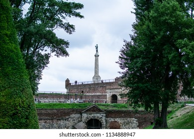 View of the statue of Victor at the kalemegdan fortress Belgrade-Serbia.