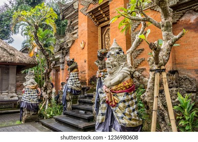 View of statues inside the Royal palace, Ubud, Bali, Indonesia.