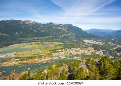 View from Stawamus Chief 2 - second largest granite monolith in the world - on Howe Sound and Squamish town, Canada