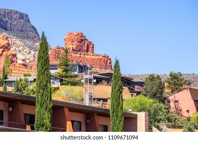 View to Steamboat rock with blue sky background from downtow Sedona, Arizona, USA