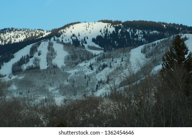 View: Steamboat Ski Resort with a Deep Blue Sky in Early Spring, Steamboat Springs, CO/USA (April, 7, 2019)
