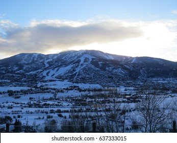 View of Steamboat Springs, Colorado near dusk