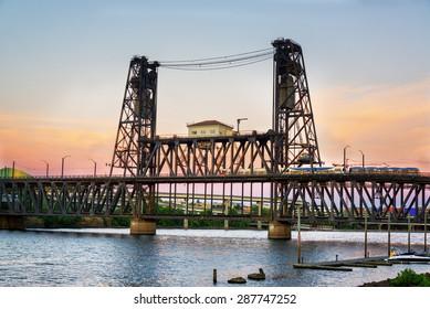 View of the Steel Bridge at dusk in Portland, Oregon