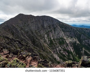 A view of the steep rocky slopes of Katahdin in Baxter State Park, Maine.
