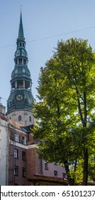 View of the steeple of St. Peter's Church in Riga