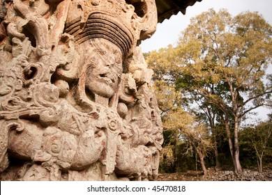 View of Stela B portraying 'King 18 Rabbit' at the ancient Mayan ruins of Copan. Honduras, Central America.