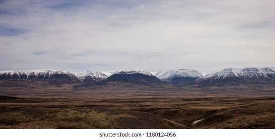 View from the Stephan G Stephansson Monument. Range of Mountains in the North of Iceland, near to the small town of Akureyri.