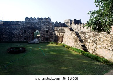 View of steps, wall and gate from inside of fort at Jhansi in Uttar Pradesh, India, Asia