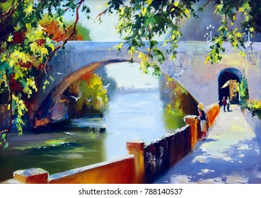 View of the stone bridge over the Sochi river. Green foliage over the river embankment. Painting: oil, canvas.