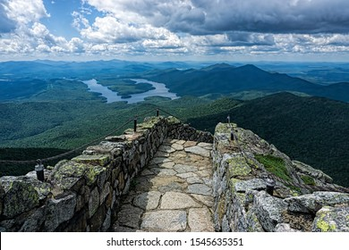 The view from the stone path on Whiteface Mountain looking over Lake Placid and the Adirondack Mountains. - Shutterstock ID 1545635351