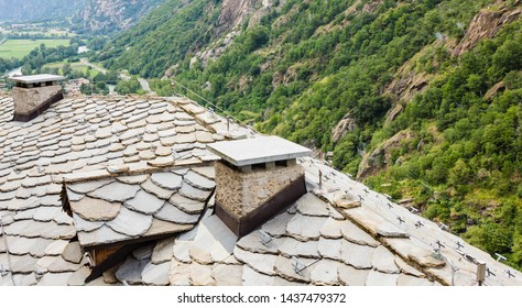 view of stone roof called the losa roof of an ancient valdostan village in Italy/ the losa are stone slabs, dating back to the 1400-1600 century, extracted from the mountain and laid to the roof