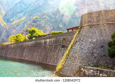 View of the stone wall of the old town of Kotor, which is located in the mountains. Kotor, Montenegro, August, 2018