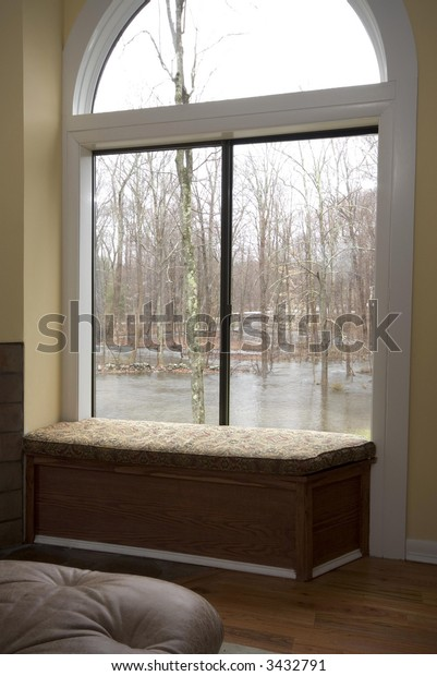 view of storm flood property from inside contemporary house living room