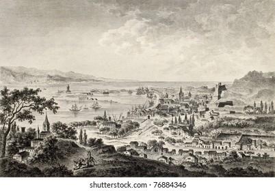 View of strait of Messina between Sicily and Calabria, Italy. By Desprez and Dambrun, published on Voyage Pittoresque de Naples et de Sicilie,  J. C. R. de Saint Non, Impr. de Clousier, Paris, 1786