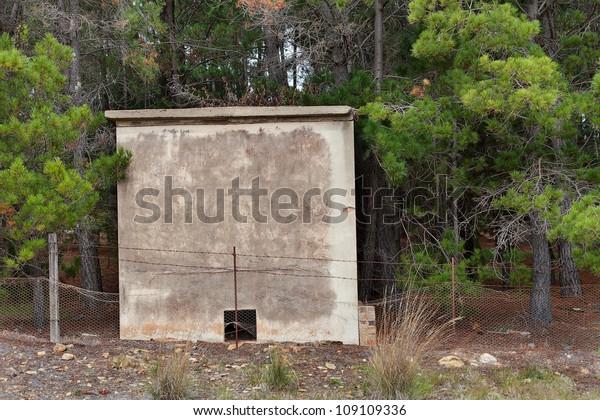 View Strange Small Concrete Bunker Like   Royalty-Free Stock