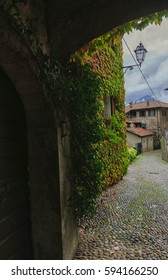 View of the street in Bellagio town at lake Como Italy.