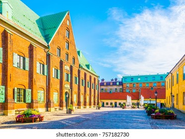 View of a street with brick buildings in Goteborg, Sweden.