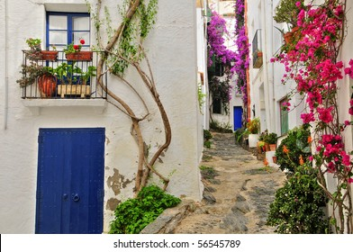 View of a street of Cadaques, Costa Brava, Spain