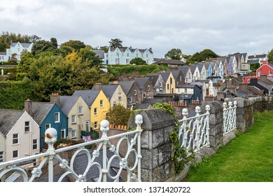View of the street with colorful houses in the port city of Cobh, Ireland