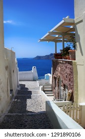 View of the street and the house on the island of Santorini, travel to Greece