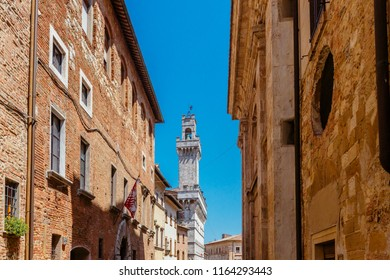 View of Street of Montepulciano, Italy and the Tower of Palazzo Comunale