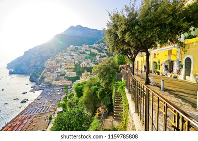 View from the street on the hill along Amalfi Coast in Positano in summer.