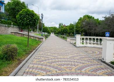 View of the street in Pyatigorsk, resort town in  Stavropol region, Russia