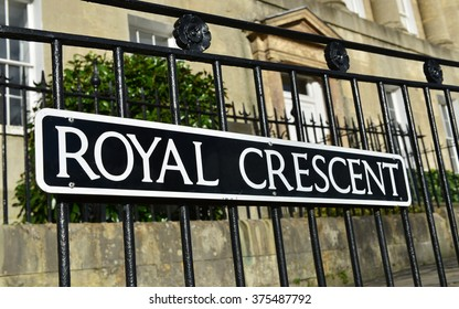 View of a Street Sign outside Terraced Town Houses on the Landmark Georgian Era Royal Crescent in the City of Bath in Somerset England