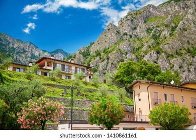 view of the street in the small town Limone sul Garda, Lake Garda, Italy