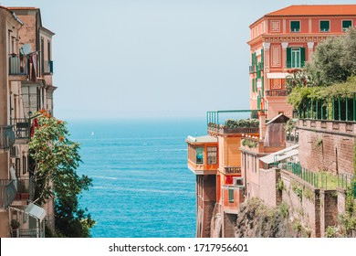 View of the street in Sorrento, Italy. Sorrento beautiful way to the sea between the rock
